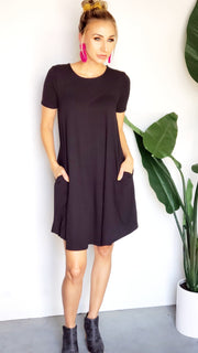 Doorbuster Short Sleeve A-Line Dress with Pockets