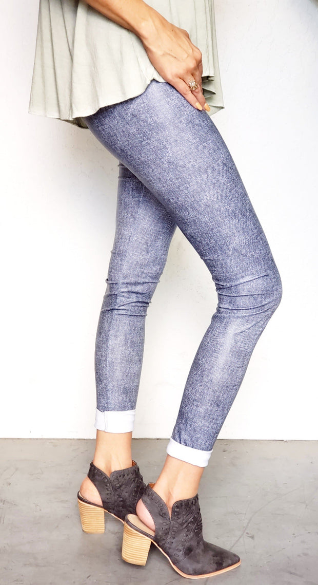 Faux Denim High Waist Leggings Jeggings