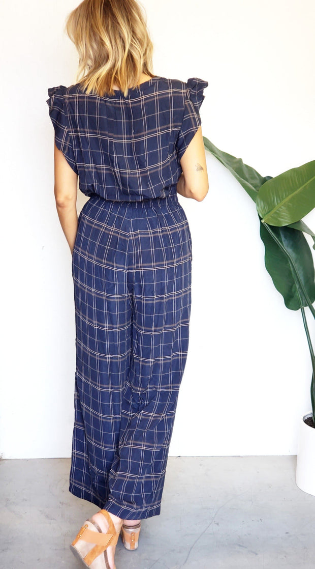Button Down Plaid Love Jumpsuit