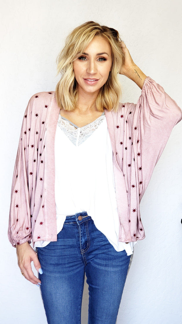 Pol - Star Embroidered Cocoon Sleeve Cardigan