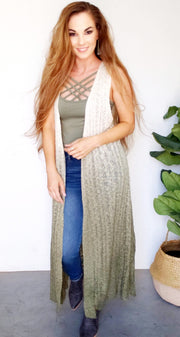 Dip Dye Sleeveless Cardigan Vest