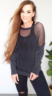 Long Sleeve Mineral Wash Hybrid Mesh Top