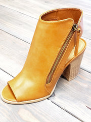 Cadence - Zipper Open Toe Booties
