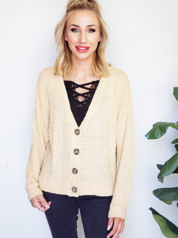 Button Up Waffle Knit Cardigan