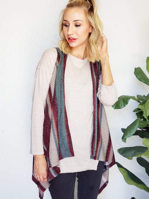 Plus Size Multi Stripe Knit Vest Cardigan