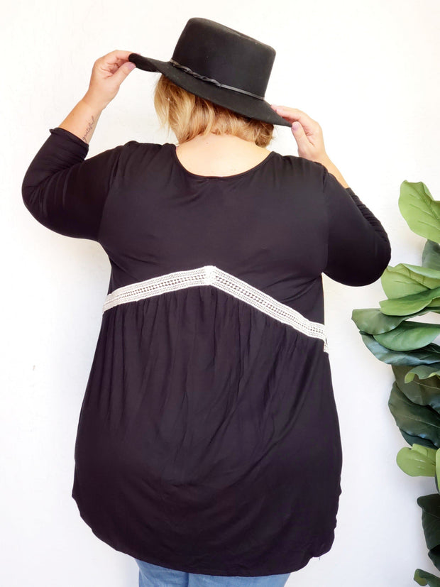 Plus Size V-Neck Top with Back Detail
