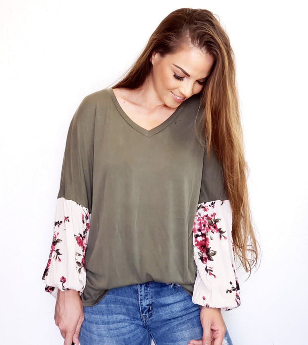 Long Sleeve V-Neck Top with Floral Detailed Balloon Sleeves