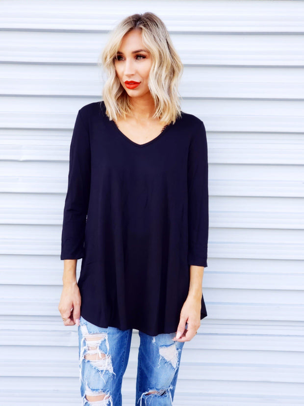 V-Neck Top with Back Detail