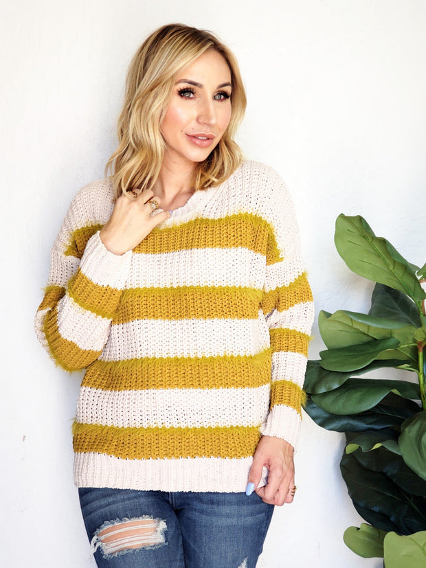 Easel - Rugby Striped Sweater Knit Pullover Top