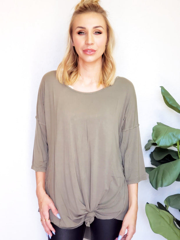 Pol - Wide Neck 3/4 Length Sleeve Tunic Top