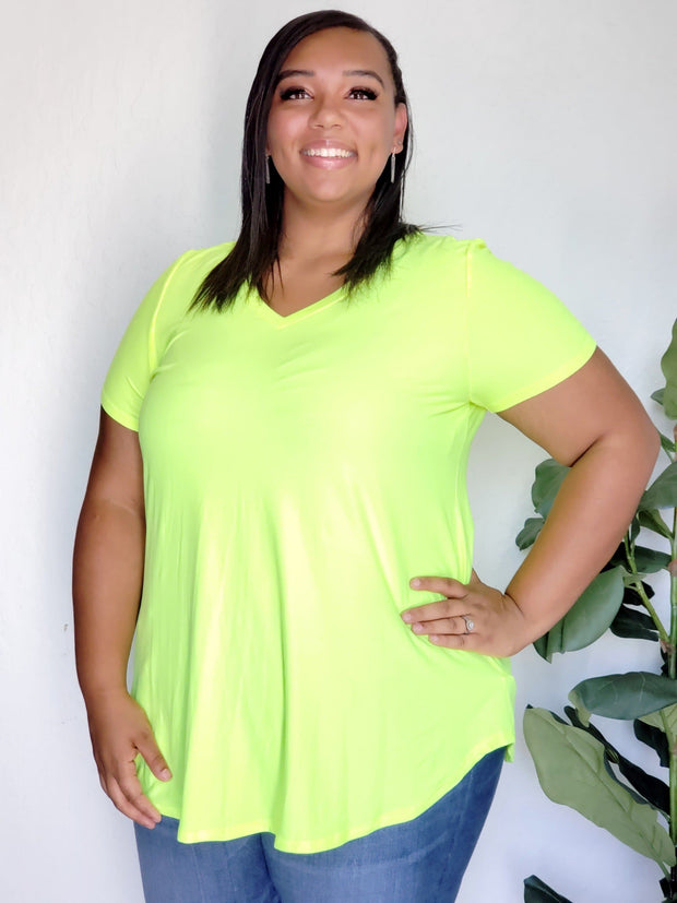 Plus Size Brushed Neon V-Neck Short Sleeve Top