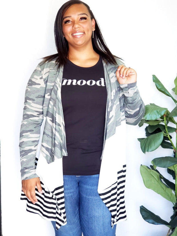 Plus Size Camo Color Block Cardigan