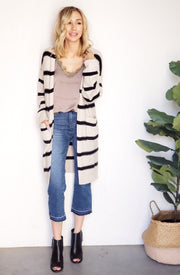 Long Sleeve Striped Cardigan with Pockets
