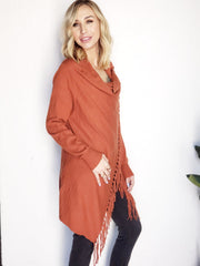 Fringed Open Front Draped Poncho Wrap Cardigan
