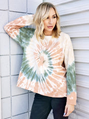 Easel - Tie-Dye Crew Neck Long Sleeve Pullover Top