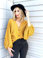 Long Puff Sleeve V-Neck Button Cardigan