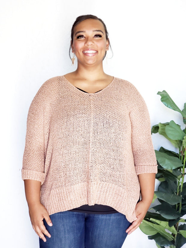 Plus Size Loose Fit Basic Knitted Sweater