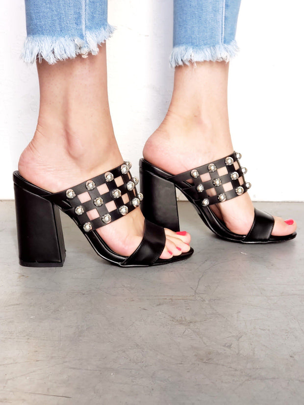 Studded and Caged Block Heels