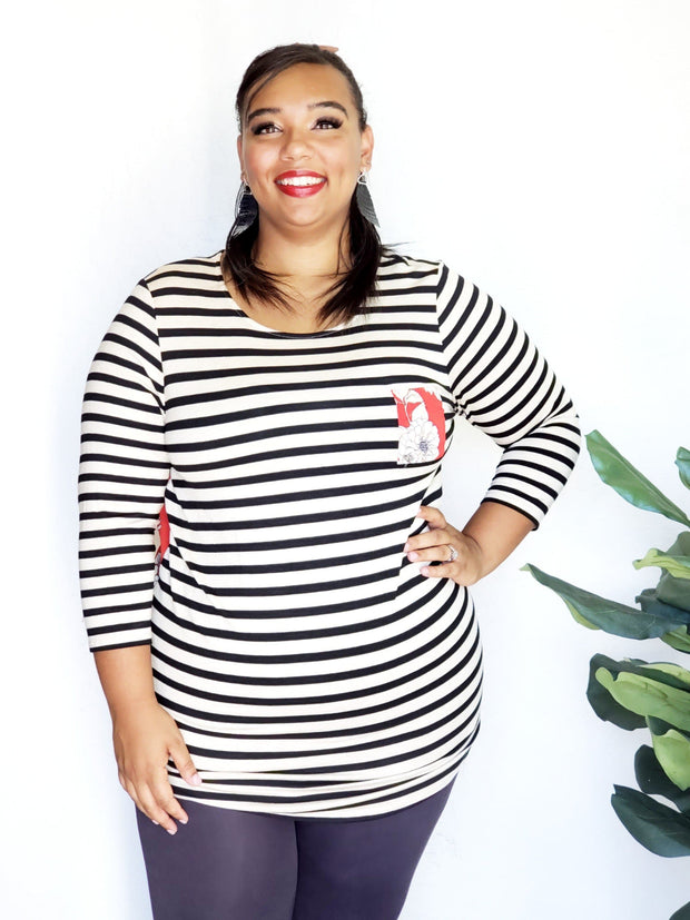 Plus Size Striped 3/4 Sleeve Top with Floral Detailing