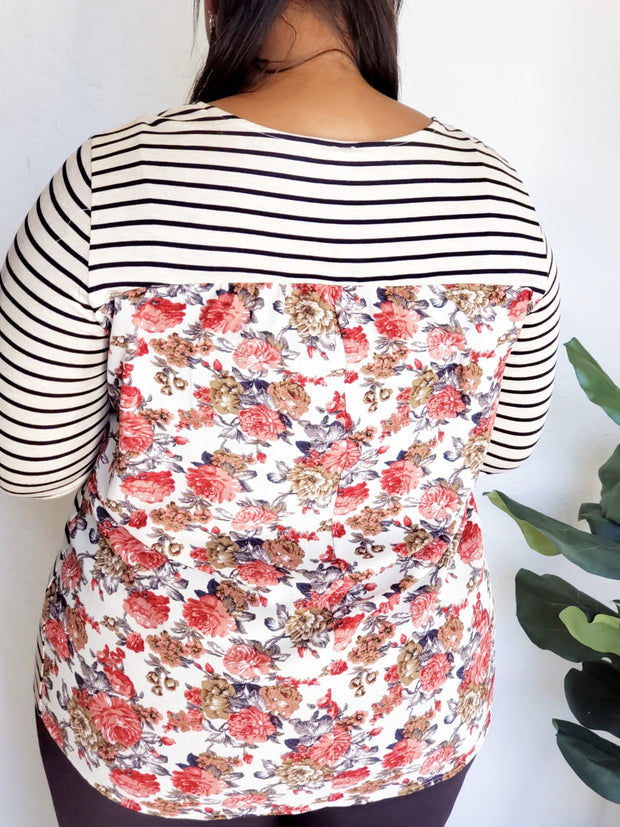 Plus Size Striped Floral Top