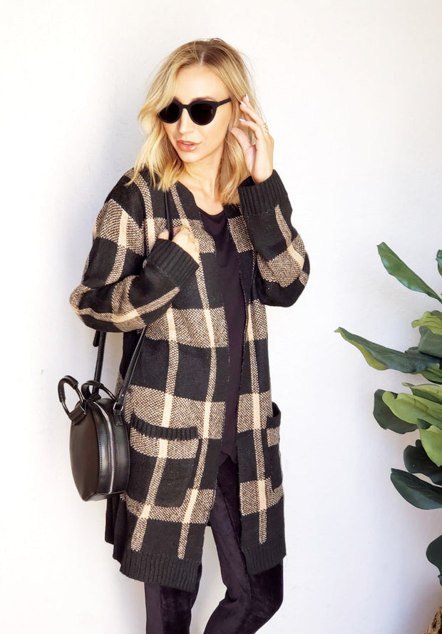 Plaid Maxi Open Sweater with Front Pockets