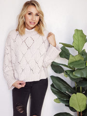 Pol - Turtleneck Eyelet Cutout Sweater