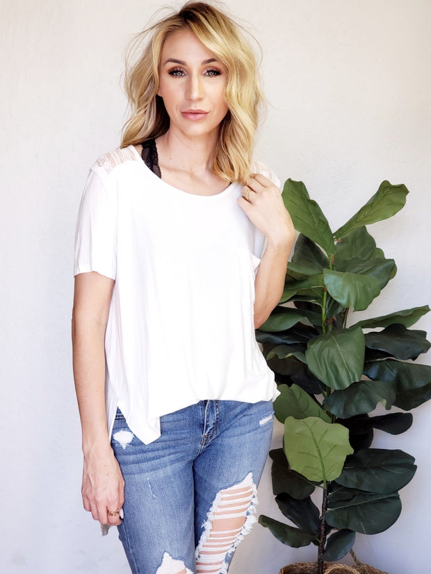 Pol - High-Low Tee with Lace Shoulder