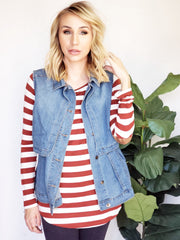 Doorbuster Striped Long Sleeve Top with Elbow Patch