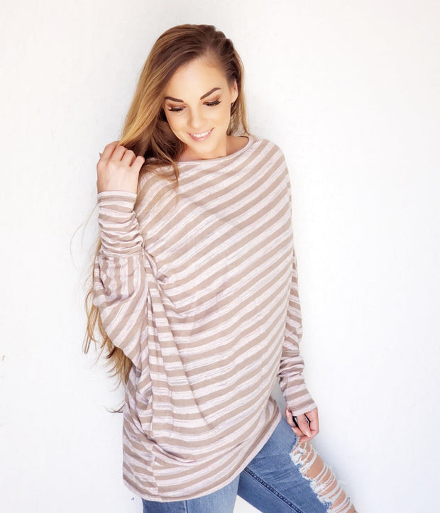 Easel - 3/4 SLEEVES STRIPED ASYMMETRICAL LOOSE FIT TUNIC