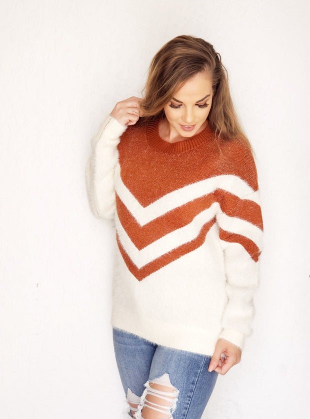 Mohair Knit Sweater Top Featuring Chevron Print