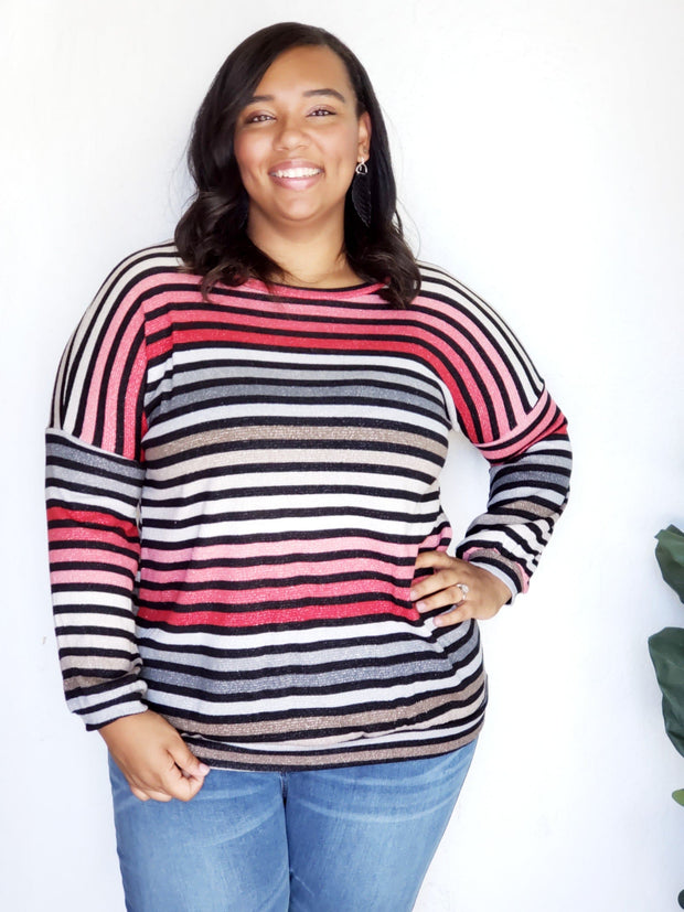 Plus Size Multi  Color Stripe with Lurex Sweater Top