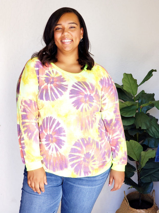 Plus Size Scoop Round Neck Multi Tie-Dye Long Sleeve  Sweater Top