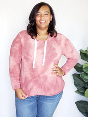 Plus Size Soft Tie-Dye Sweater with Hoodie