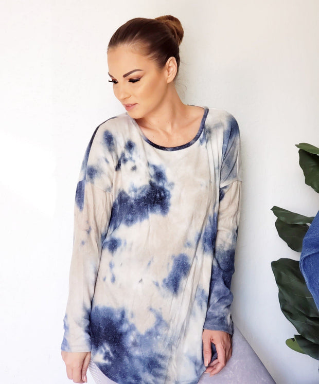 Scoop Round Neck Tie-Dye  Long Sleeve Top