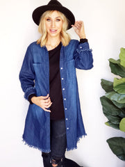 Denim Wash Dye Button Up Solid Tunic Dress