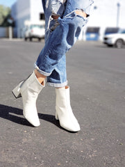 Euro Fab Square Heel Boots - Black or White