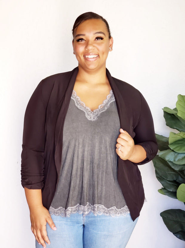 Plus Size Lightweight Stretchy Open Blazer