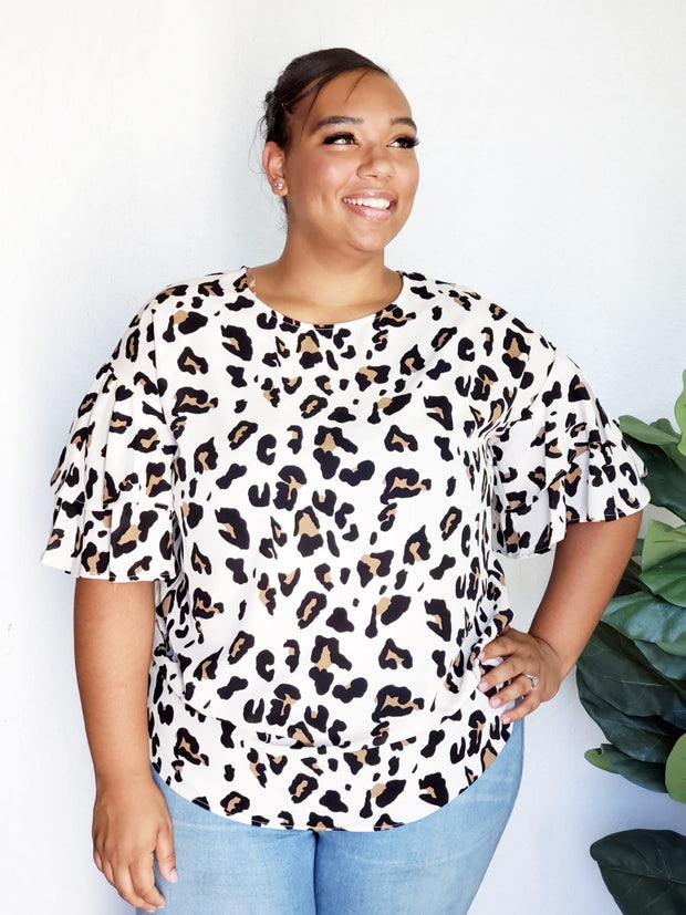 Plus Size Snow Leapard Top with Ruffle Sleeve