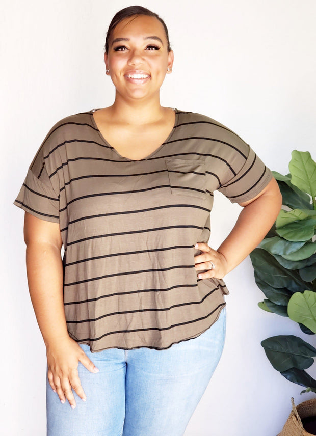 Plus Size Stripe V-Neck Top