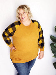Plus Size Crewneck Buffalo Plaid Sleeved Tunic Top