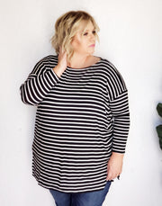 Plus Size Striped Oversized Tunic Top