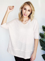 3/4 Length Sleeve Loose Hacci Rib V-Neck Top
