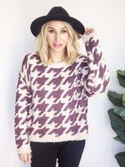 Hounds Tooth Knit Sweater