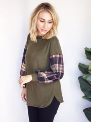Plaid On Your Sleeve Sweater