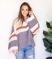 Pol - Urban Chic Chenille Sweater Featuring Round Neckline with V-Cut in the Middle