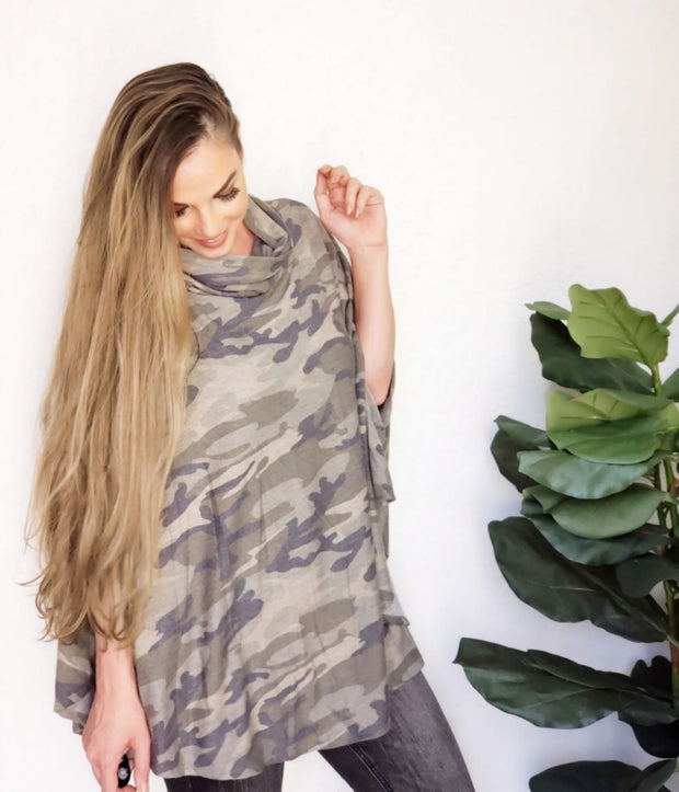 Turtle Neck Camo Print Poncho Top