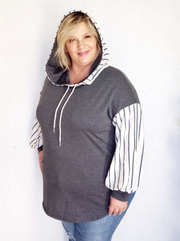 Plus Size Soft French Terry Hoodie with Stripes