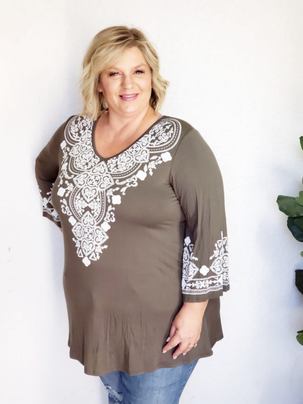 Plus Size Embroidered Print Top