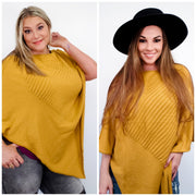 Easel - Big Heart Sweater Knit Poncho (S-3XL)