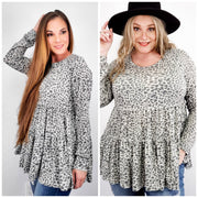 Easel - Cheetah Print Ruffled Baby Doll Tunic (S-3XL)
